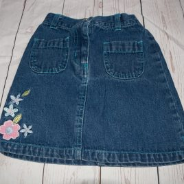 Denim skirt with flowers 4-5 years