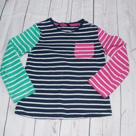 Pink, navy & green stripy top 4-5 years