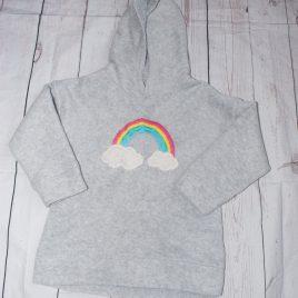 Next grey fleece hoodie with rainbow 3-4 years