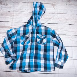 Blue checked shirt with hood 2-3 years