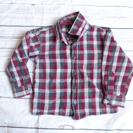 Burgundy and grey checked shirt 2-3 years