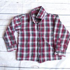Burgundy and grey checked shirt 2-3 years