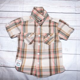Brown checked short sleeved shirt 2-3 years