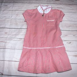 Red checked school dress 4 years