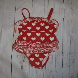 Debenhams red hearts swimming costume 12-18 months