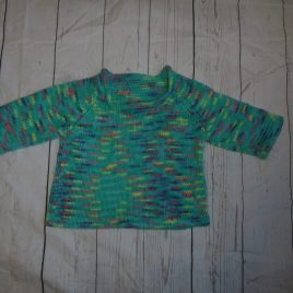 Hand knitted green jumper 6-12 months