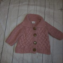 Next dusky pink thick cardigan 9-12 months