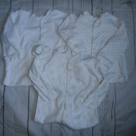 x3 white & grey sleepsuits 12-18 months