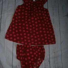 Red & pink spotty dress & pants 12 months