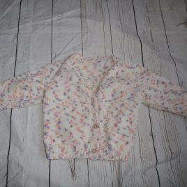 Hand knitted white, purple, pink & orange cardigan 6-12 months