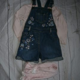 Tights, top & short denim dungarees outfit 4-5 years