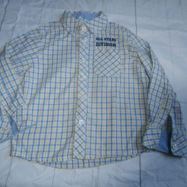 Blue, yellow & white long sleeved shirt 2-3 years