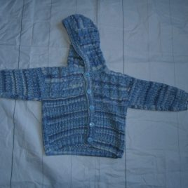 Hand knitted blue hoodie cardigan 12-18 months