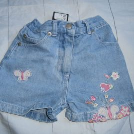Denim shorts with butterflies 3-4 years
