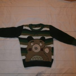 Green stripy bear jumper 2-3 years