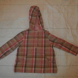 GAP pink & brown checked hooded tunic top 4-5 years