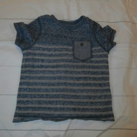 Blue & grey striped t-shirt 12-18 months