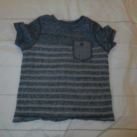 Blue & grey striped t-shirt 12-18 months
