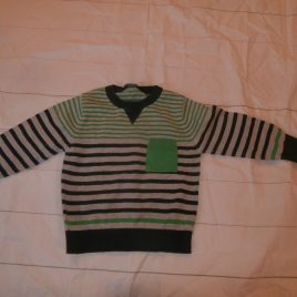 Green, grey & navy stripy jumper 2-3 years