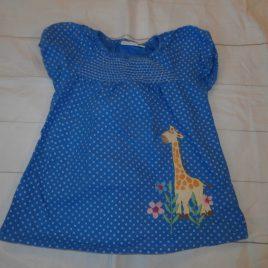 JoJo Maman Bebe blue spotty giraffe t-shirt 4-5 years