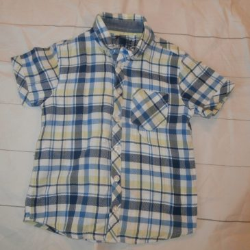 Blue & Green checked short sleeved shirt 4-5 years