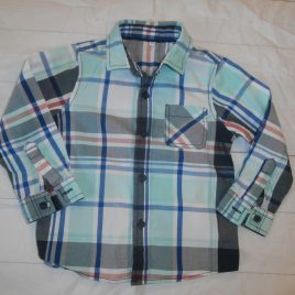 M&S green & blue checked shirt 2-3 years