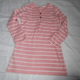 Fat Face pink stripy dress with roll up sleeves 4-5 years
