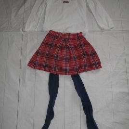 Tartan skirt, top & tights outfit 4-5 years
