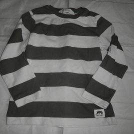H&M grey & white stripy top 2-4 years