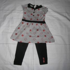 Grey, black & red stars tunic top & leggings outfit 2-3 years