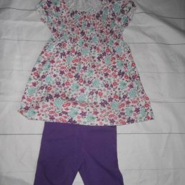 Purple tunic top & shorts outfit 2-3 years