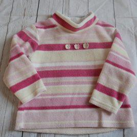 Next pink stripy fleece jumper 18-24 months