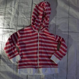 Red & white striped hoodie cardigan 18-24 months
