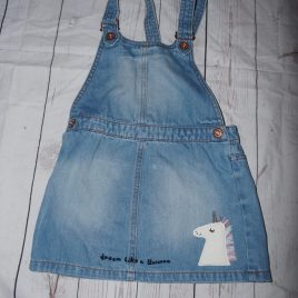 Next denim unicorn pinafore dress 4-5 years