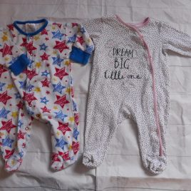 x2 3-6 months sleepsuits
