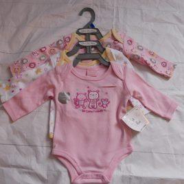 NEW x3 newborn pink long sleeve bodysuits