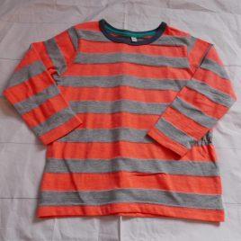 M&S grey & orange striped top 2-3 years