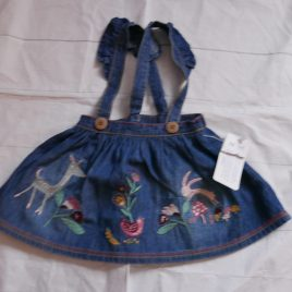 New denim style straps skirt with deer & flowers up to 1 month