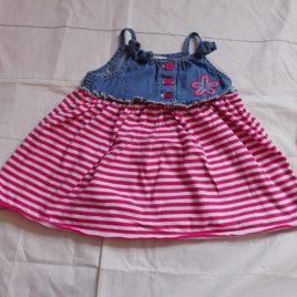 Pink stripy dress 3-6 months