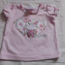 Pink bunny t-shirt 0-3 months