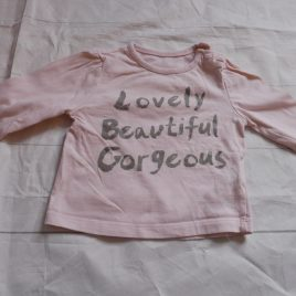 Pink 'Lovely beautiful gorgeous' top 0-3 months