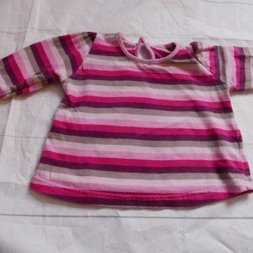 Pink & purple striped top 3-6 months