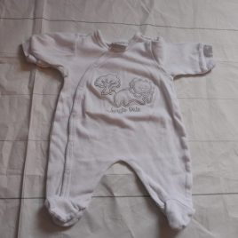 White 0-3 sleepsuit