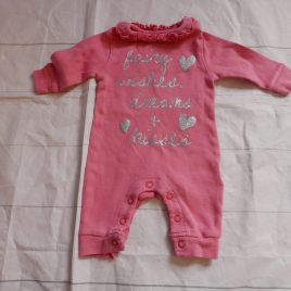 'Fairy Wishes dreams & kisses' pink sleepsuit up yo 1 month