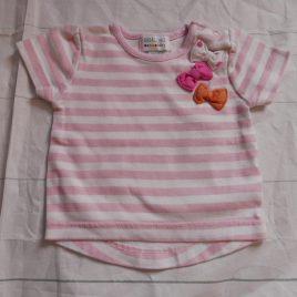 Pink & white striped t-shirt 0-3 months