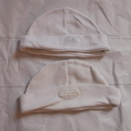 x2 white baby hats one size