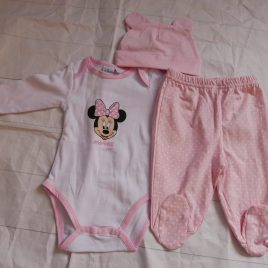 Disney Baby pink Minnie Mouse bodysuit, hat & trousers outfit 3 months