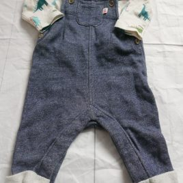 John Lewis  dungarees & long sleeved bodysuit outfit 0-3 months