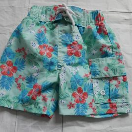 Green flowers swimming shorts 0-3 months