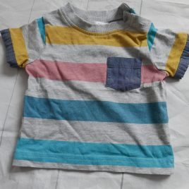 Grey striped t-shirt 0-3 months
